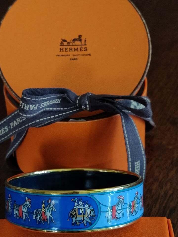 Hermes bangle bracelet enamel- Vintage 70s - image 1