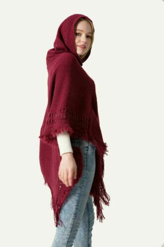 Women Knitted Hooded Cloak Poncho Pullover Tassel Coat Outwear Tops Coats Blouse