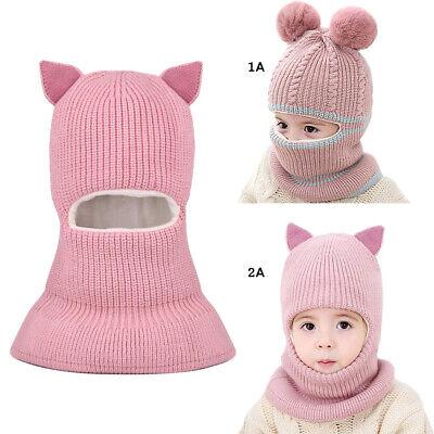 Unicorn Winter Pink Hat Hooded Scarf Earflap Knitted Cap Xmas Gift Kids//Boy//Girl