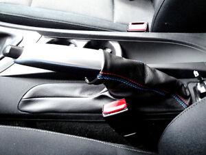Soufflet levier de frein BMW série 1 e87 Cuir véritable noir Coutures Msport