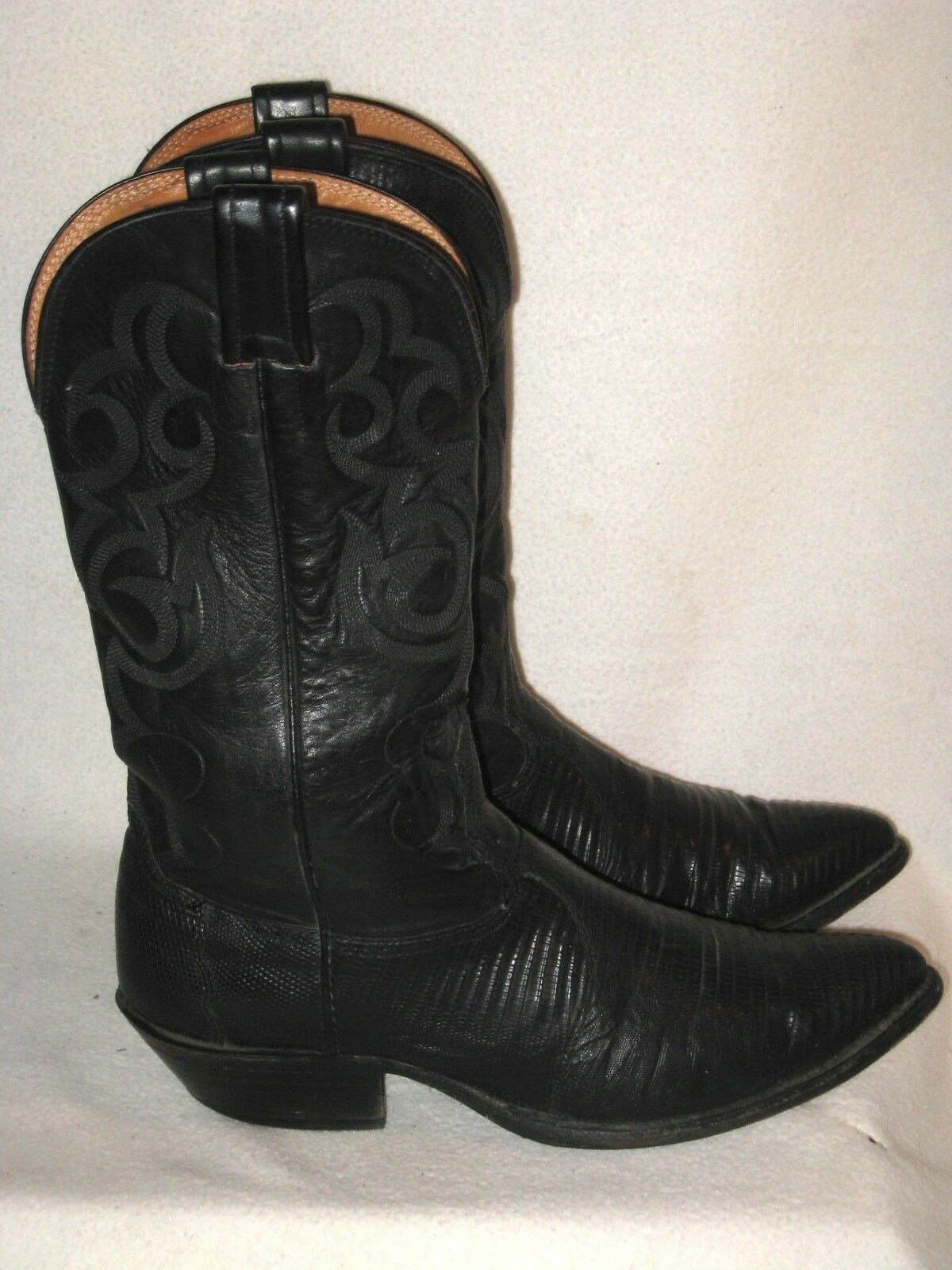 MEN'S NOCONA LIZARD/ LEATHER WESTERN BLACK COWBOY BOOTS made in USA SZ 9 D