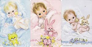 Vintage-70-039-s-Swap-Playing-Cards-SEt-of-3-cute-babies-and-teddies