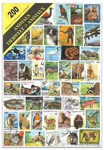 200 Different Animals Used Stamps Thematic Window Display Packet