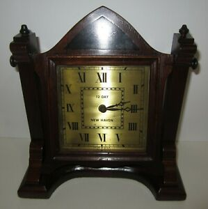 ANTIQUE NEW HAVEN 12-DAY TIME PIECE DESK CLOCK WIND UP MECHANICAL