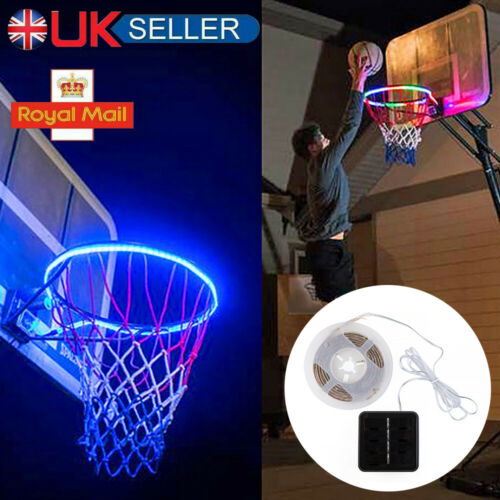 UK Shiny Hoop LED Light Up Basketball Hoop Strip Light At Night Induction Lamp