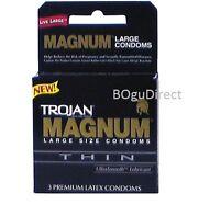 Trojan Magnum Large Size Thin Condoms 6 Boxes 3 Ea Pk