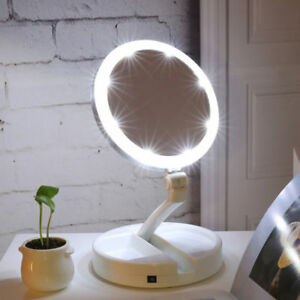 Portátil plegable 10x lupa LED ilumina dos lados maquillaje espejo mesa O388HC