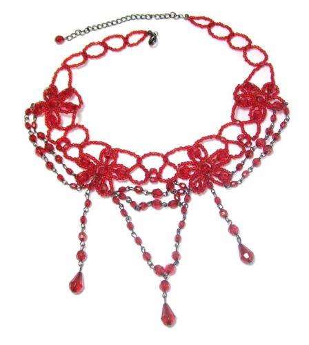 Grano de Flor Gargantilla Collar Cadena Rojo Damas Mujeres Burlesque Joyería Fantasía Vestido