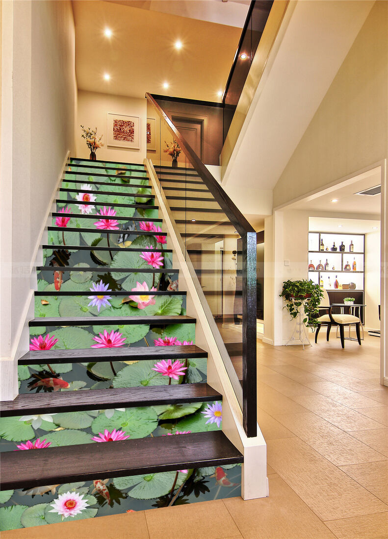 3D Lotus pond Stair Risers Decoration Photo Mural Vinyl Decal Wallpaper AU