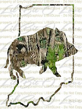 Camo Hog Boar over the Indiana State Outline Hunter Vinyl Decal Sticker Hunting