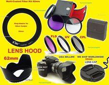 ADAPTER+FILTER KIT+HOOD+LENS CAP 62mm for CAMERA NIKON COOLPIX P510 P520 P530