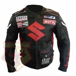 SUZUKI-4269-BLACK-MOTORCYCLE-MOTORBIKE-COWHIDE-LEATHER-ARMOURED-JACKET
