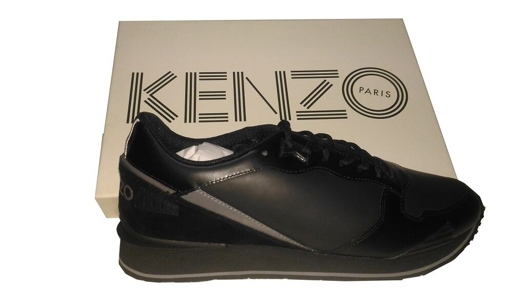 BRAND NEW KENZO PARIS LEATHER NAPPA BLACK SNEAKERS TRAINERS SHOES