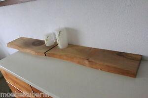 2xWandboard-Nussbaum-Massiv-Holz-Board-Regal-Steckboard-Regalbrett-Baumkante-NEU