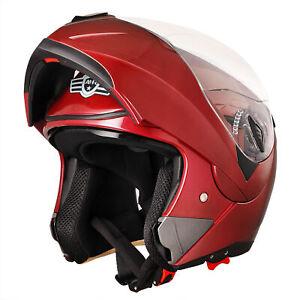 DOT Flip up Modular Full Face Motorcycle Helmet Dual Visor Race Motocross Red XL