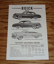 1951 Buick Factory Delivered Prices Sales Brochure 51 Roadmaster Special