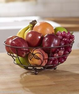 Bronze-Finish-Country-Apple-Kitchen-Metal-Fruit-Treat-Basket-Holder-Decor