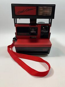 Polaroid-600-Camera-COOL-CAM-w-Strap-Black-Red-Clean-Vintage-Instant-Camera