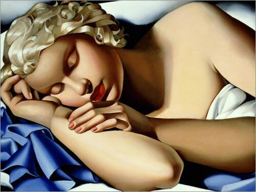Quadro su pannello in Holz MDF Tamara De Lempika The Sleeping Mädchen (Kizette)