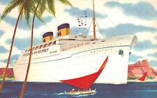 S.S.Matsonia,Twin-Stack Ocean Liner,Postcard,Matson Lines,Used,Honolulu,1961