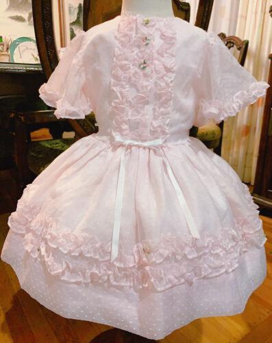 Vintage girls swiss dot pink sheer dress