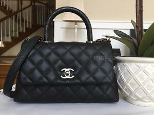34bf8258f0d06d NWT 2017 CHANEL BLACK COCO HANDLE Caviar MINI Kelly Classic Bag with ...