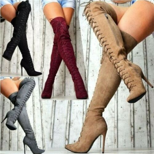 Women Over Knee High Thigh Boots High Slim Heels Stilettos Pointy Toe Lace Up SZ