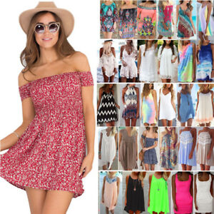 Womens-Summer-Short-Mini-Dress-Beach-Bikini-Cover-Up-Kaftan-Swimwear-Sundress-US