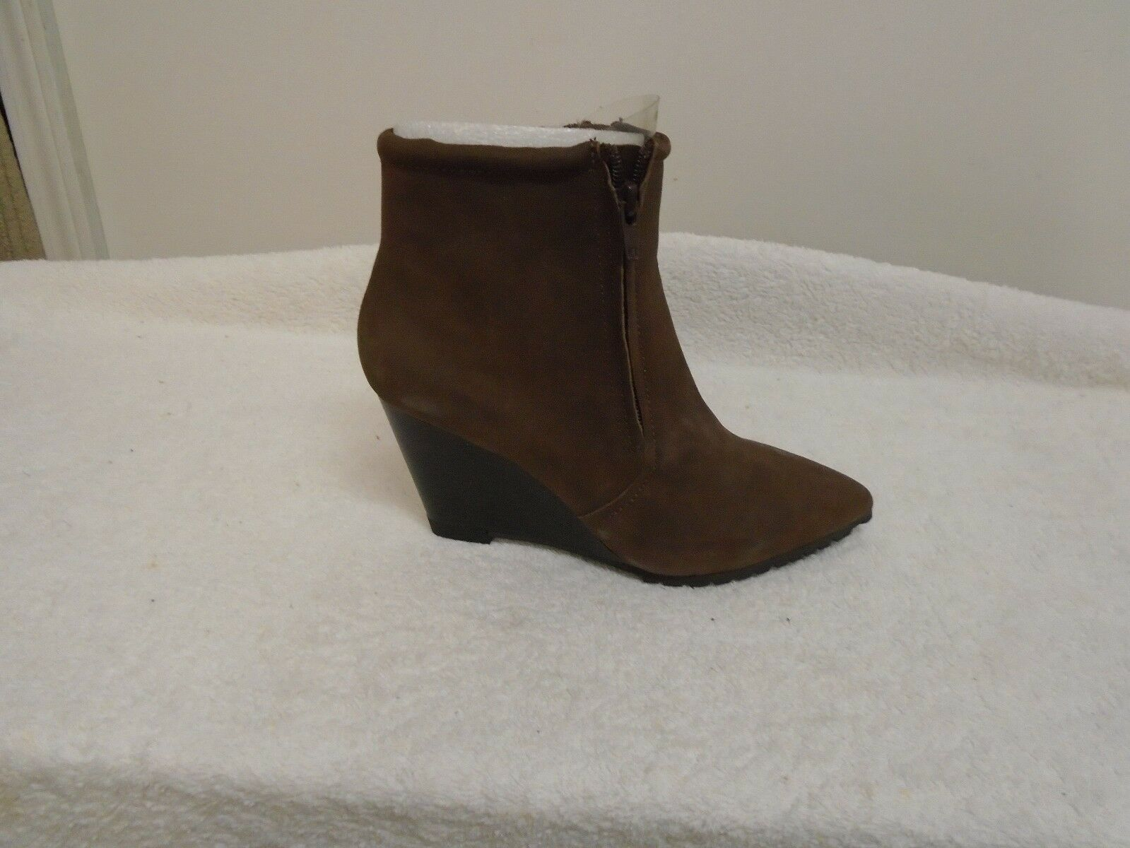 H by Halston Leather Double Zipper Wedge Ankle Boots - Hal BROWN  10M NEW
