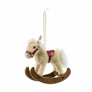 Steiff-ROCKING-HORSE-Ornament-Mohair-683398-6-034-14cm-NEW-IN-BOX
