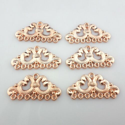 10//30pcs Alloy Rose Gold Earring Connectors Charms Pendants Jewelry Findings
