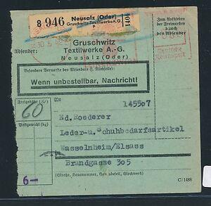 83052-DR-Neusalz-Oder-Gruschwitz-Textilwerke-AG-Postgutkarte-mit-AFS-60PF