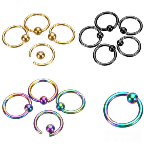 2X Fashion Nose Ring Lip Ear Nose Clip On Ball Piercing Nose Lip Hoop Earring cb