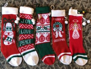 Details About Vintage Christmas Stocking Lot 5 Santa S Best Acrylic Knit Nwt Angel Wreath Bell
