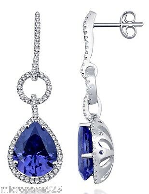 Tanzanite Cubic zirconia Pear Shaped Sterling Silver 925 Dangle With Pave Set