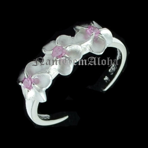 Hawaiian 925 Sterling Silver 3 Plumeria Flower 4mm Toe Ring Pink CZ