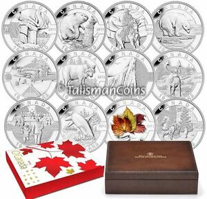 2013-O-Canada-Complete-12-Coin-10-Pure-Silver-Proof-Set-Wolf-Maple-in-Wood-Box