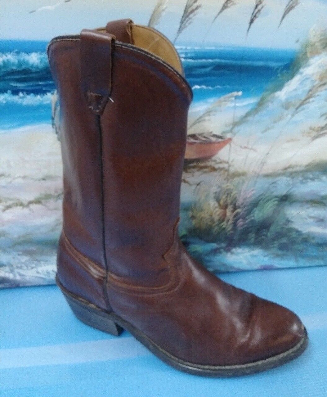 Mens Leather Western Cowboy Boots -- Mens 9 EW Style 71099