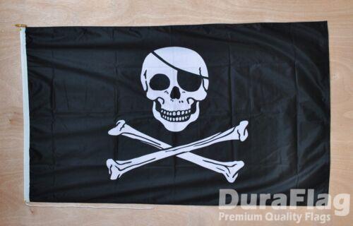 "SKULL AND /& CROSSBONES DURAFLAG hard wearing FLAG 18/"" X 12/"" 45cm x 30cm PIRATE"
