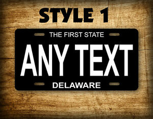 Delaware Black Porcelain License Plate Antique Custom