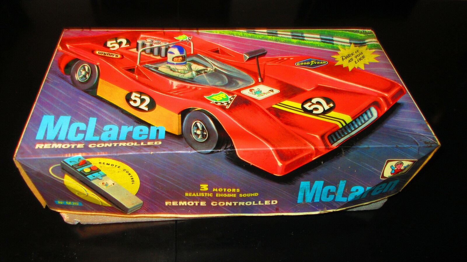 UNIQUE VINTAGE RARE GREEK B O R C rot GIANT - McLAREN - MIB BY M.P FROM 70s