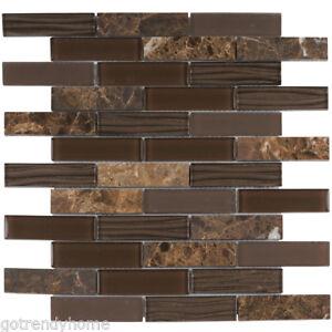 Details About Emperador Dark Brown Marble Stone Mosaic Tile Cold Spray Gl Backsplash