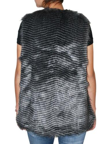 Stripe Fur Dakota Libby Plus grå Bb Vest Size Kvinders Faux sort qWSB6cw71