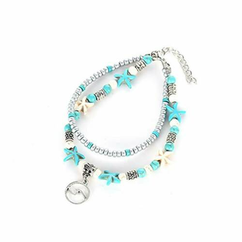 2 Layer Adjustable Boho Ankle Bracelet Anklet Turquoise Chain Foot Beach Jewelry