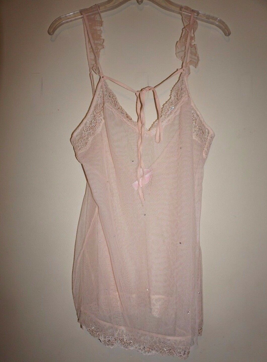 Victoria's Secret babydoll gown peach mesh shimmer lace bead bling size L NWT