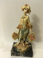 Depose Italy 725 Spider Marked Girl with Flowers and Dog Figurine Ornament