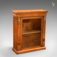 Antique Pier Cabinet, Victorian Burr Walnut Music Display Cupboard English c1850