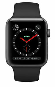 competitive price 648ff fc2b4 Apple Watch Series 3 42mm Space Black Stainless Steel Case with Black Sport  Band (GPS + Cellular) - (MQM02B/A)