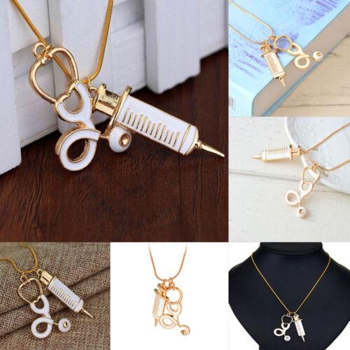 Medical Stethoscope Charm Syringe Pendant Necklace Alloy Chain Women Jewelry