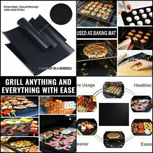 BBQ Grill Mat Set Non-Stick Mats Reusable Barbecue Cooking Accessories 2 Pieces